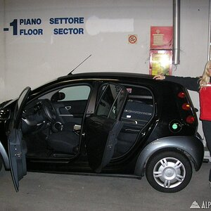 Paula with the Smart Car